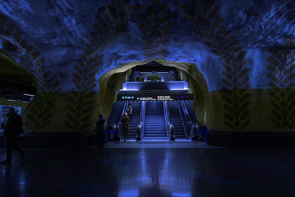 Stockholm, Metro, Station, Train Station, Escalator
