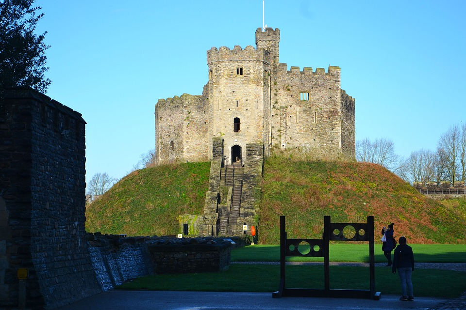 Castle, Cardiff, Stocks, Wales, Uk, Medieval, Stone
