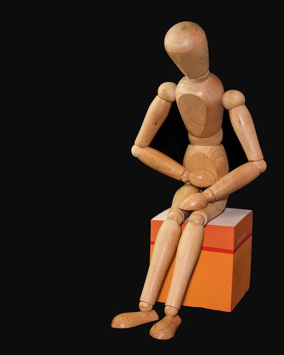 Figure, Man, Sit, Bellyache, Stomach Ache, Doll