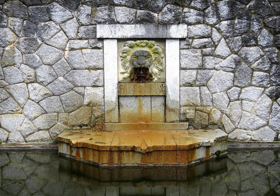 Water Fountain, Lion, Fountain, Architecture, Stone