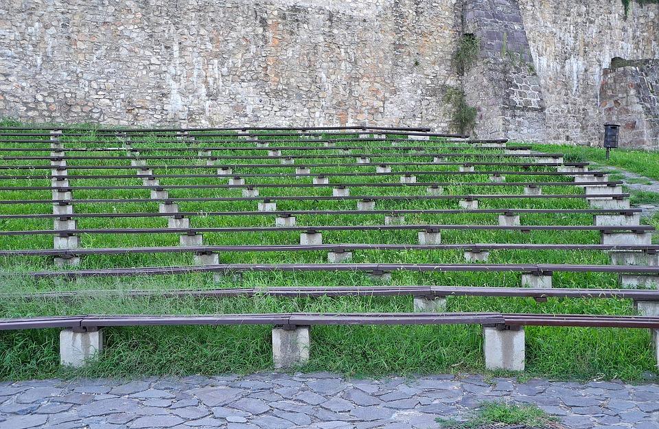 Pad, Bleachers, Audience, Stone Wall, Stone, Aisle I