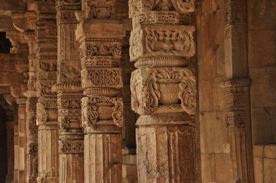 Pillars, Temple, Carvings, Stone, Intricate, Ornate