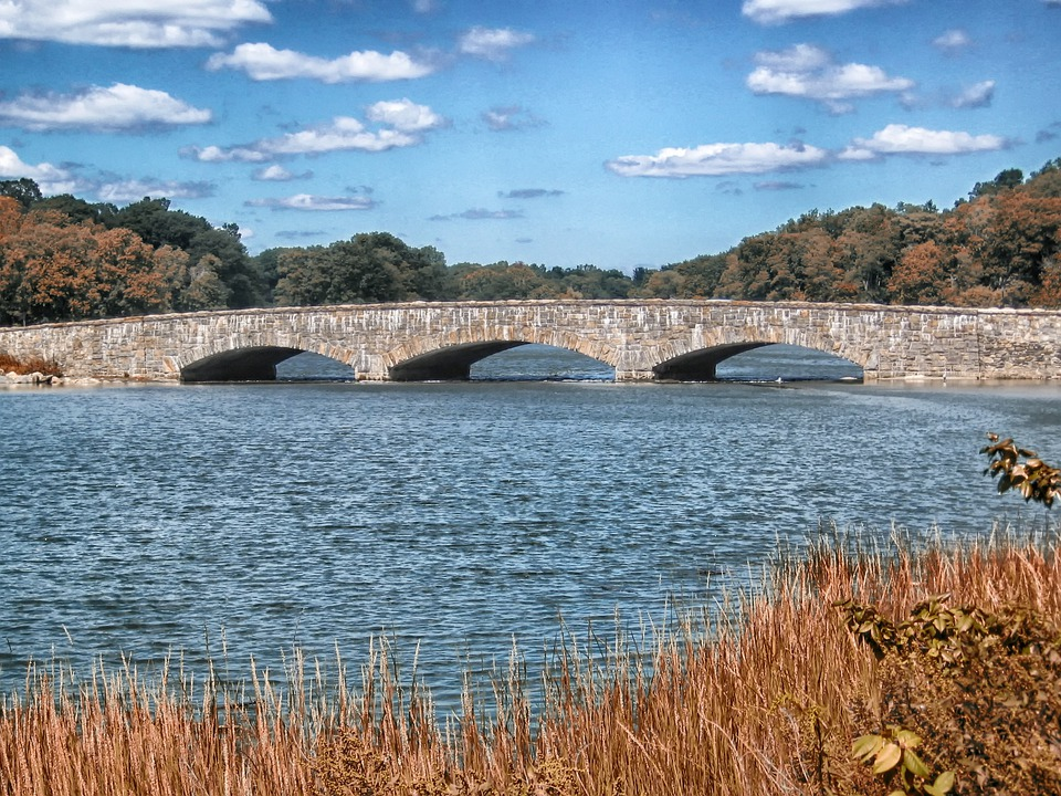 Darien, Connecticut, Bridge, Stone, Landscape, Scenic
