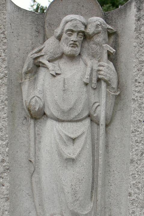 Saint Christophorus, Relief, Statue, Fig, Stone