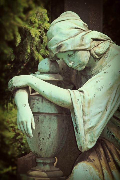 Mourning, Woman, Sculpture, Stone Figure, Stone Figures