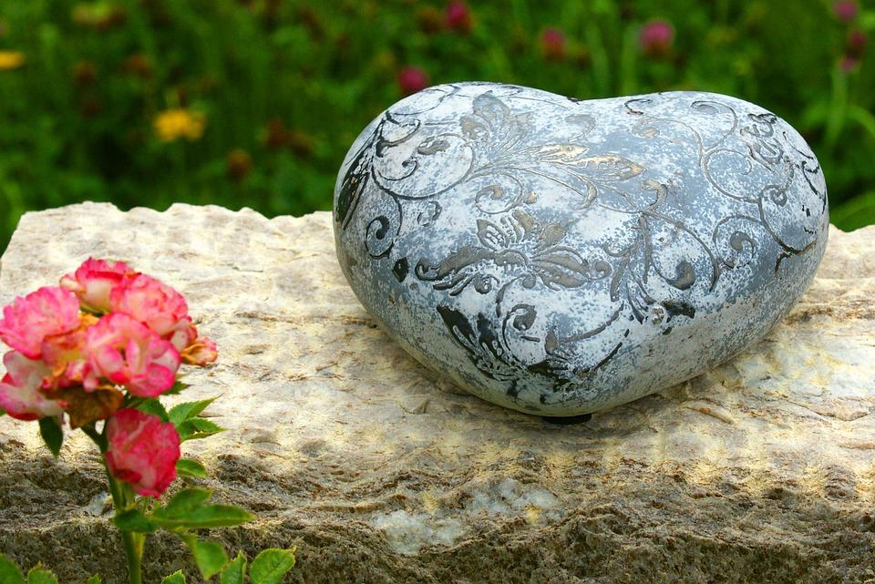 Heart, Grabschmuck, Reflection, Stone Heart, Silent