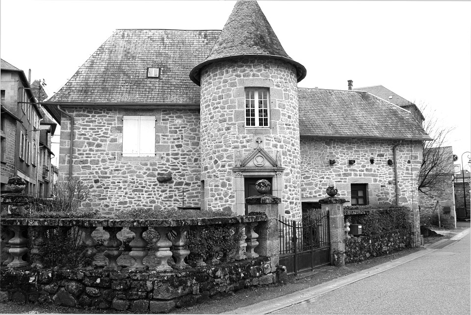 Turret, Stone House, Black And White, Ancient House