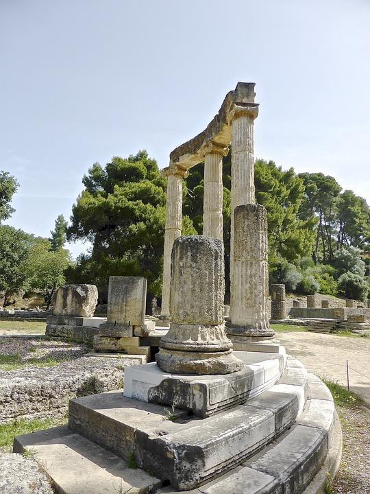 Columns, Olympia, Corinthian, Stone, Archeology
