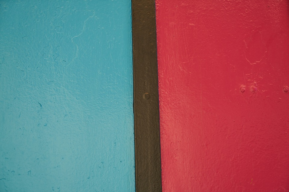 Wall, Stone, Painted, Blue, Red, Pattern, Background