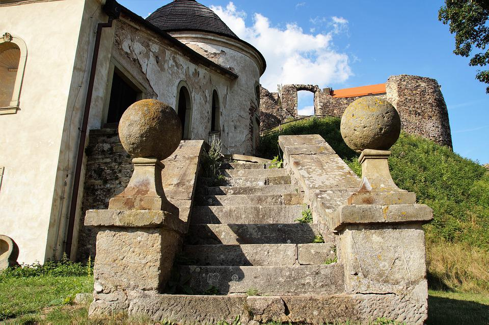 Stairs, Old, Outdoor, Stone, Castle, History, Potštein