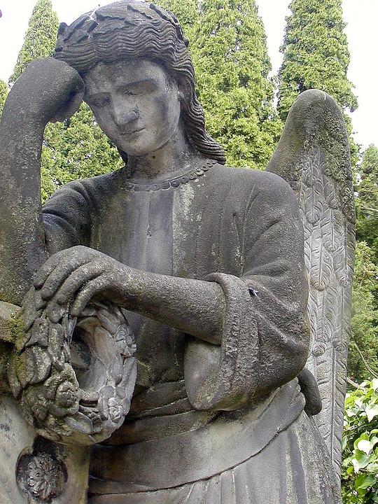Statue, Angel, Sadness, Cemetery, Stone, Death