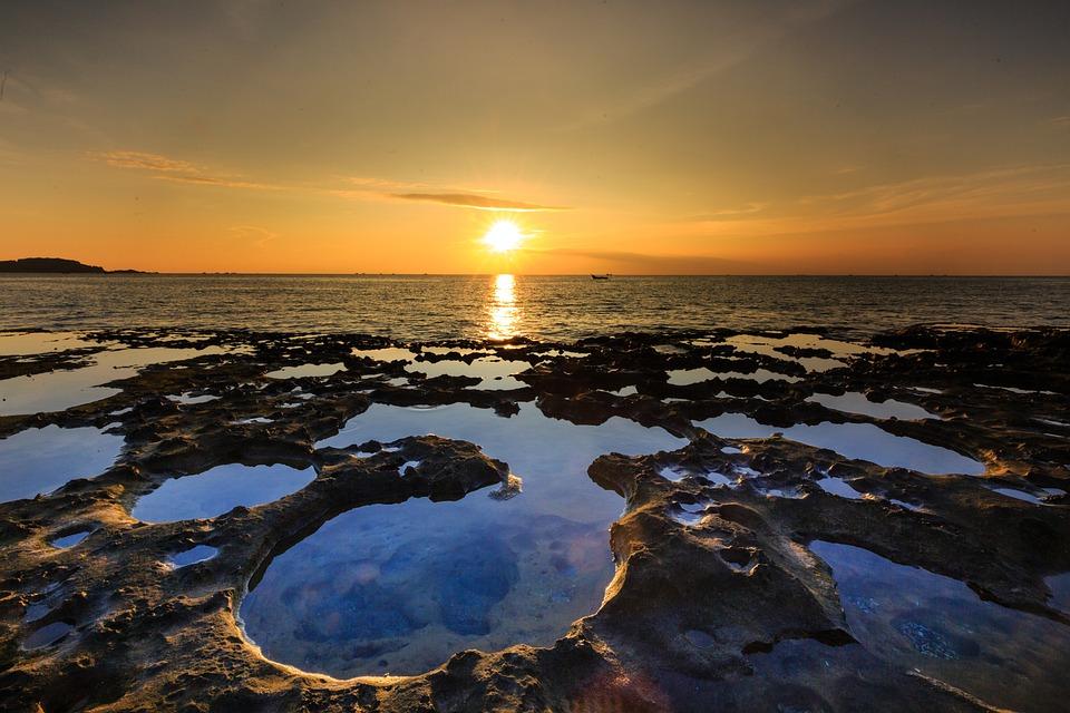 Stone Sanhô, Summer, Old, Bridge, Low, Tide, Sky, Disản
