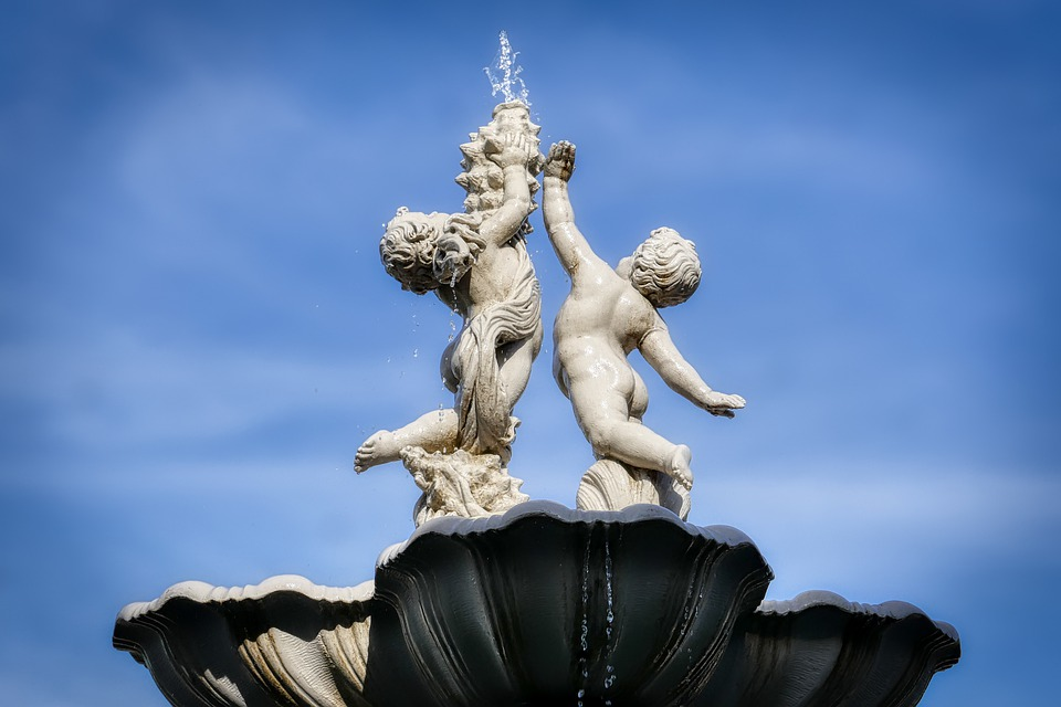 Angel, Fountain, Water, Sculpture, Figure, Stone