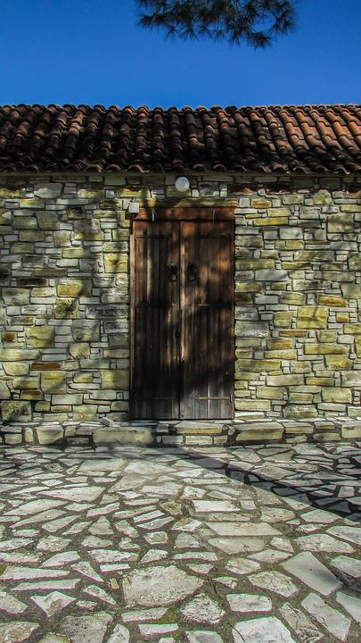 Cyprus, Slated, Door, Stone, Wood