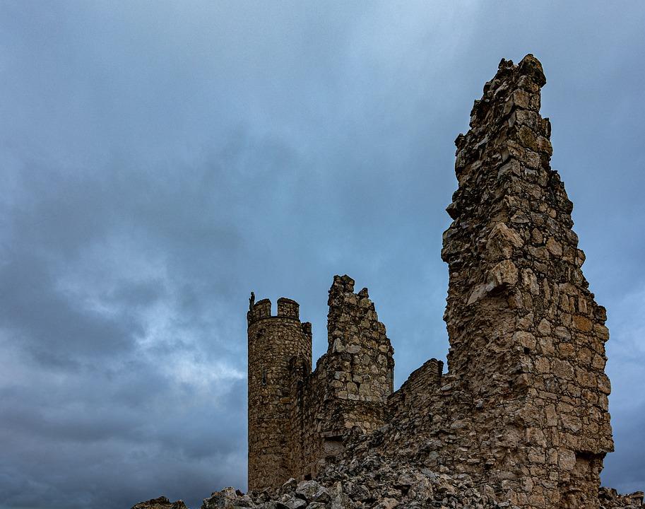 Castle, Ruins, Stone, Clouds, Spain