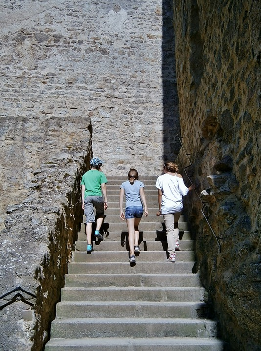 Children, Stairs, Staircase, Stone, Old, Climb Stairs