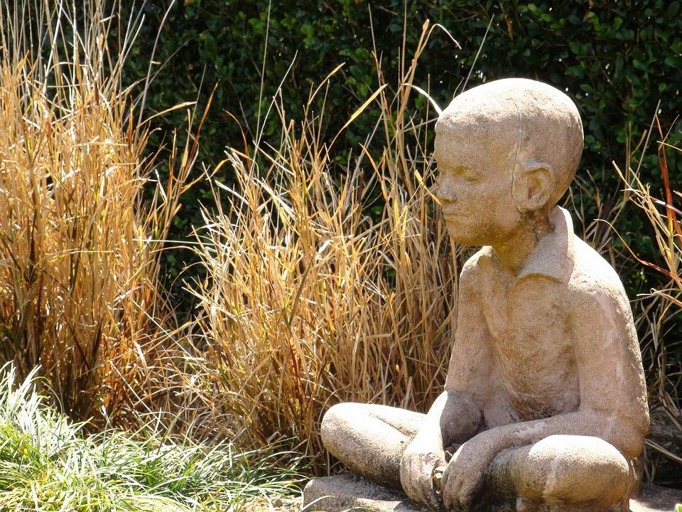 Statue, Boy, Stone, Child, Figure, Seated, Buddhist
