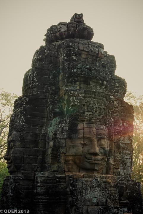 Angkor Wat, Face, Mask, Stone, Sunrise, Temple, Tomb