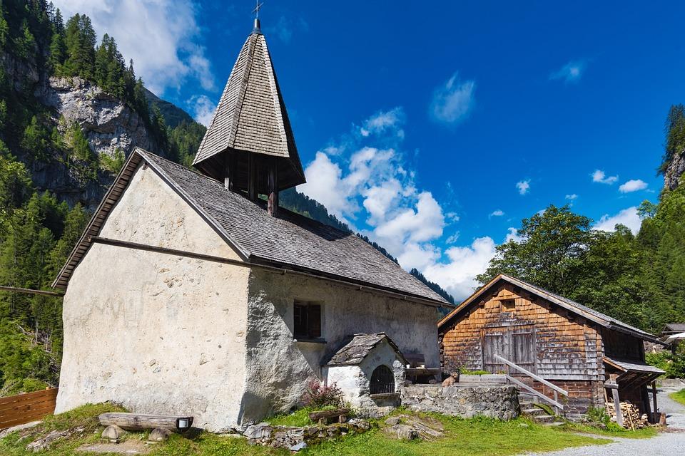 Church, Stone, Hill, Houses, Village, Chapel