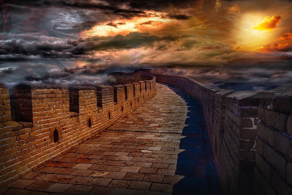 Wall, China, Architecture, Sky, Stone, Dragon