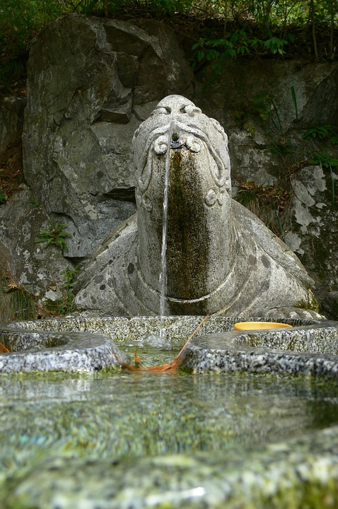 Fountain, Stone, Turtle, Water, Drinking, Fresh, Carved