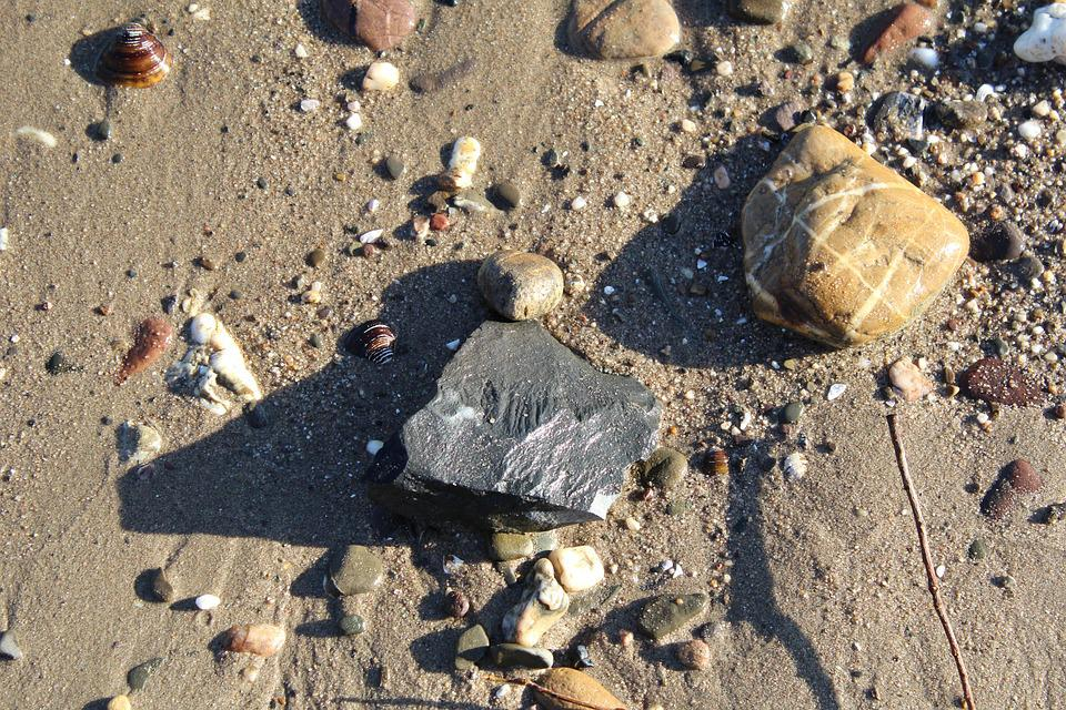 Stones, Beach, Shadow, Sand, Structures, Pebble