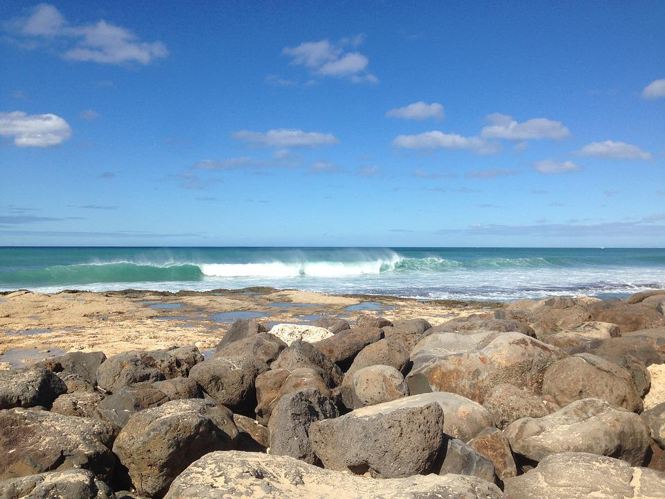 Hawaii, Beach, Travel, Coast, Ocean, Waves, Stones