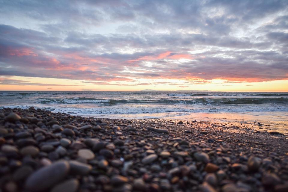 Beach, Sunset, Pebbles, Stones, Ocean, Sea, Colorful