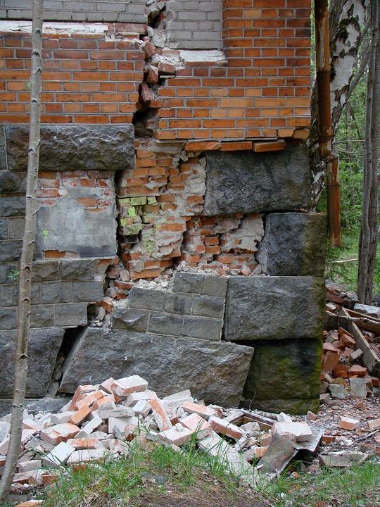 Ruin, Building, Bricks, Stones, Crack, Facade Crack