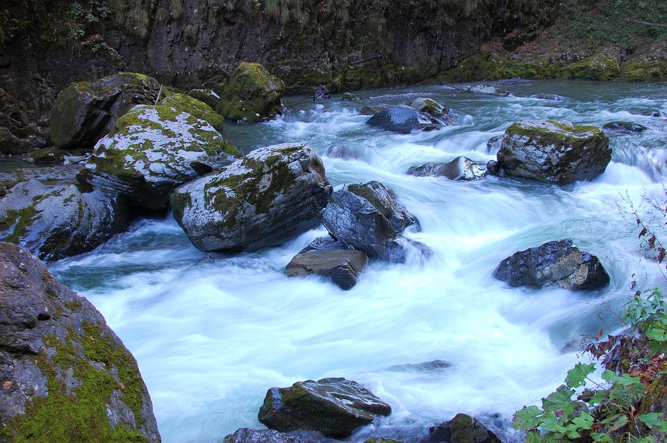 Water, Rock, Flow, Breitachklamm, Stones, Waters, Bach