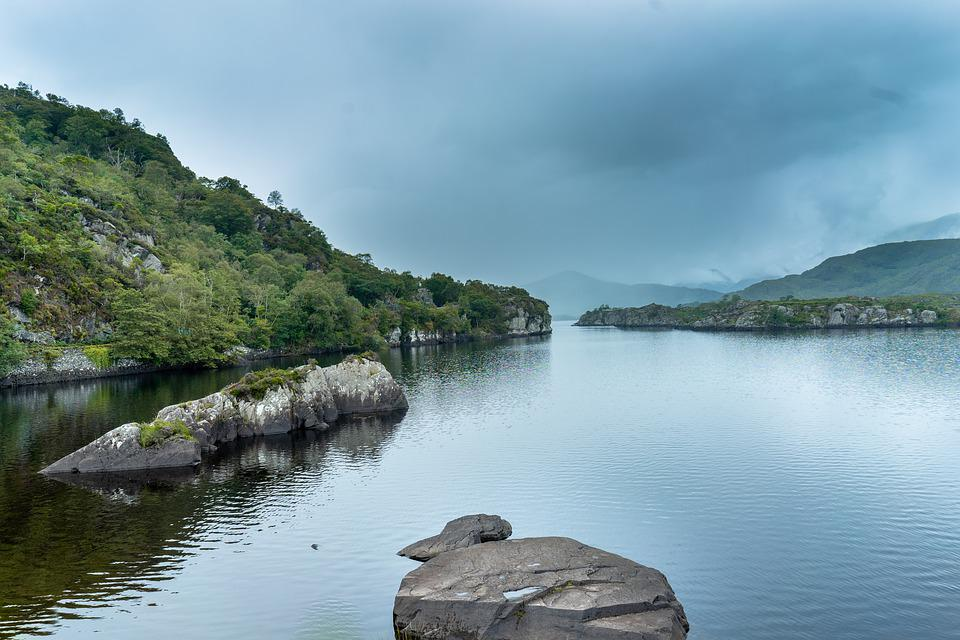 Ireland, Lake, Fog, Water, Gloomy, Nature, Stones