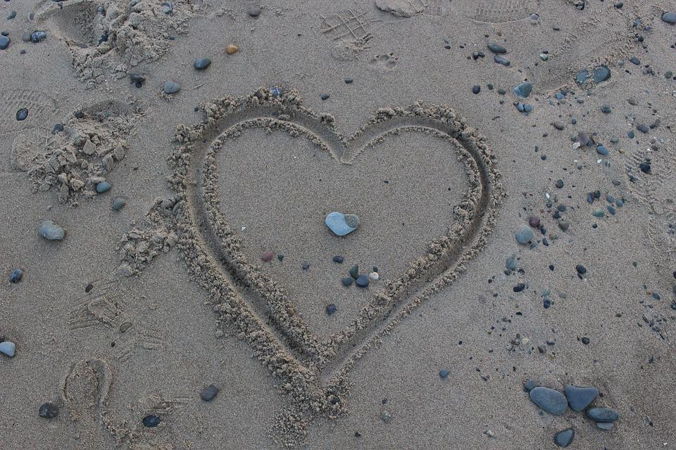 Heart, Love, Stones, Sea, Nature, Affection, Holiday