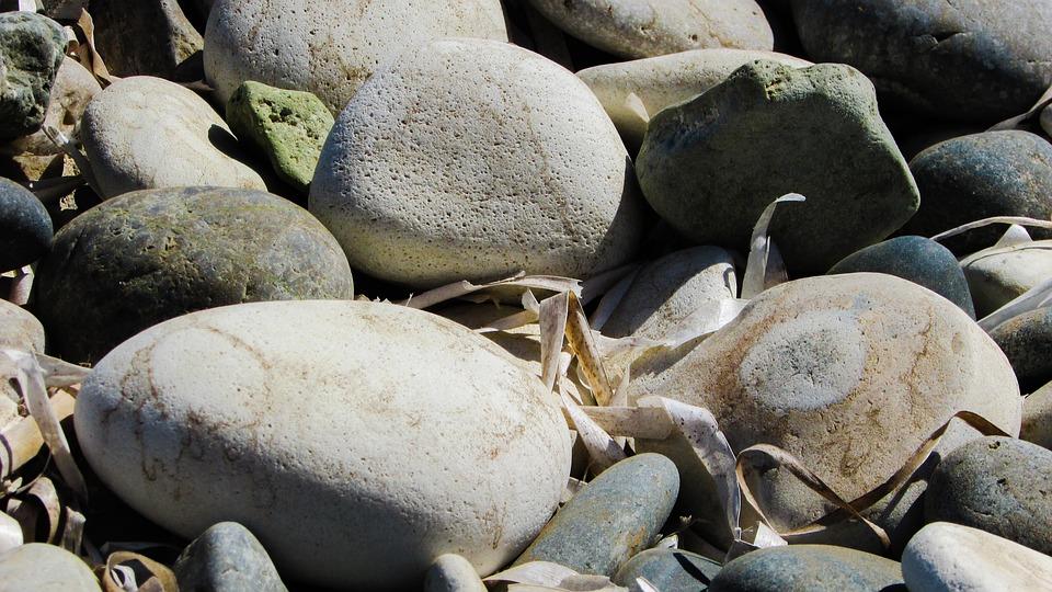 Pebble Beach, Beach, Stones, Seaweed, Nature