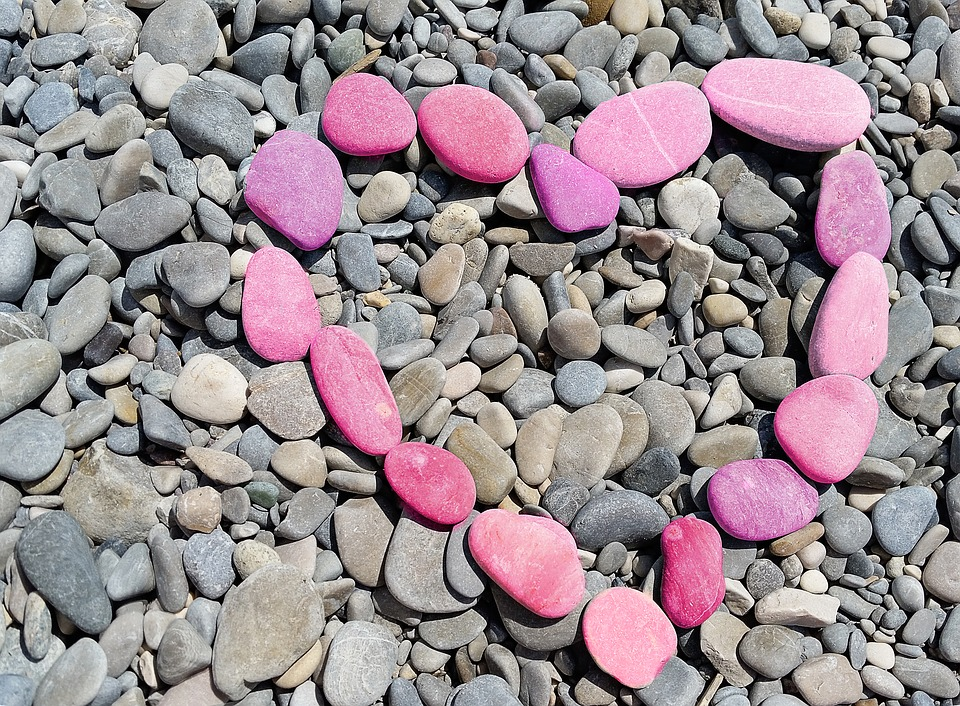 Heart, Pink, Stones, Eternity, Together, Romantic, Love