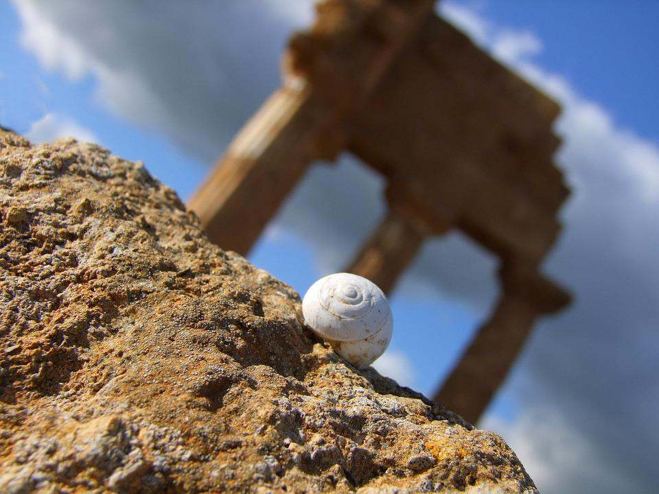 Snail, Sicily, Stones, Temple, Rock