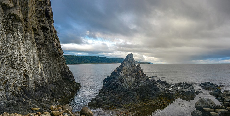 Landscape, Sea, Rock, Ocean, Clouds, Stony, Shore