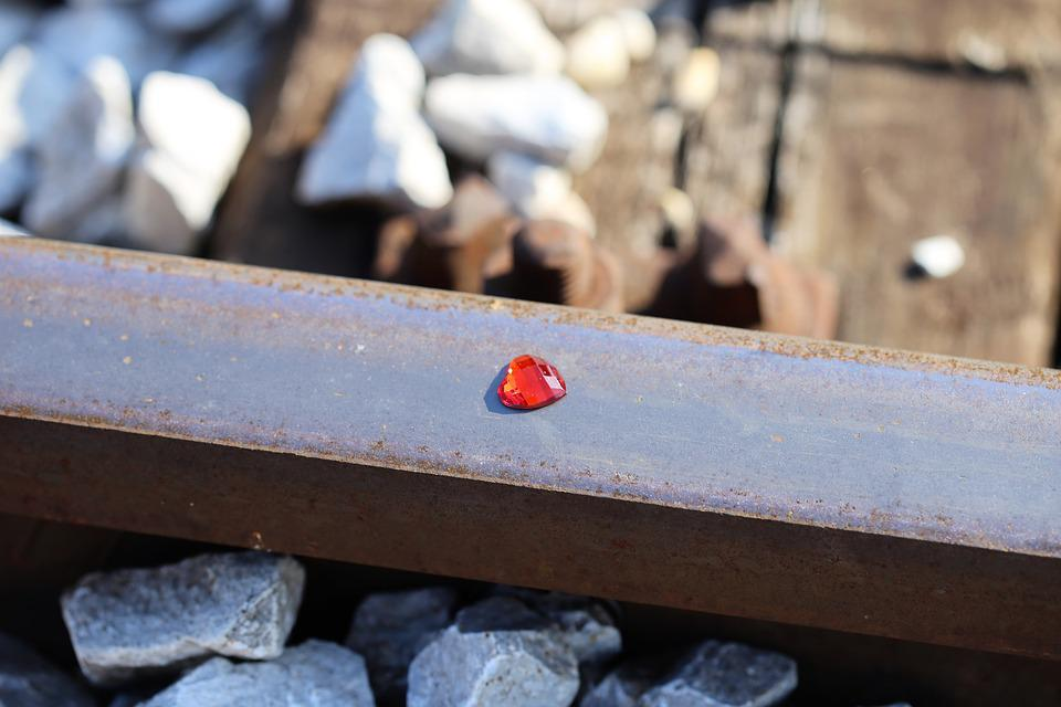 Red Heart On Railway, Stop Children Suicide