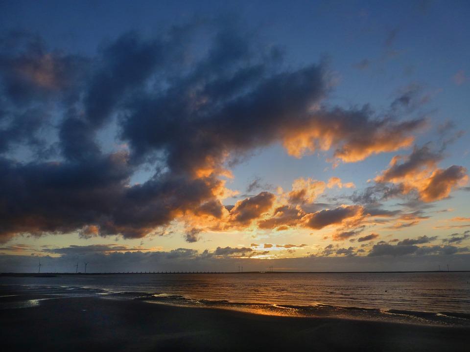 Sea, Evening Sun, Night Sky, Storm Clouds
