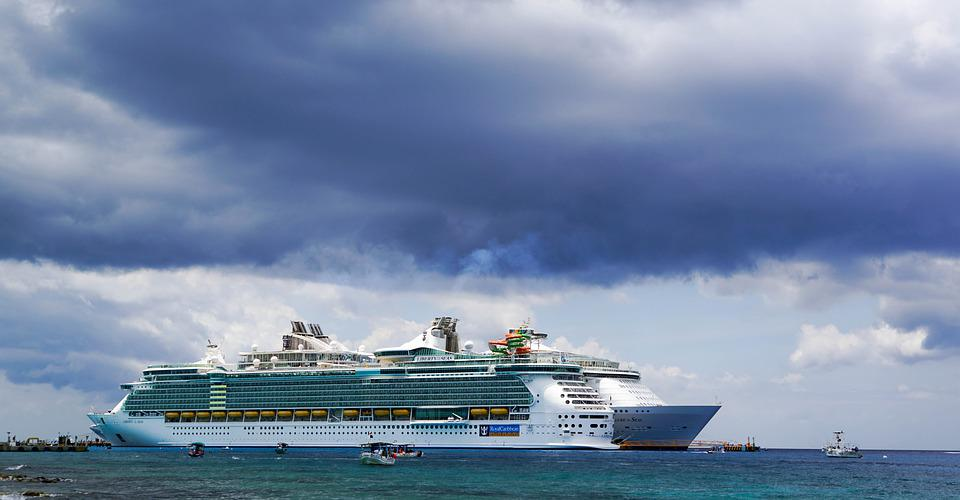 Cruise Ship, Storm Clouds, Sea, Sky, Ocean, Vacation