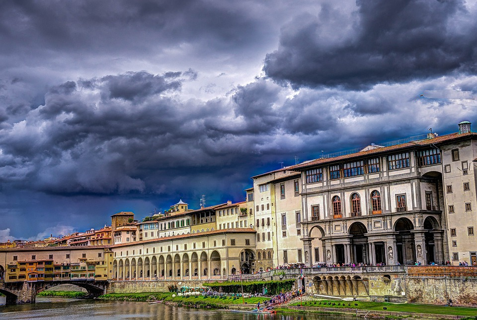 Florence, Ponte Vecchio, Italy, Clouds, Storm