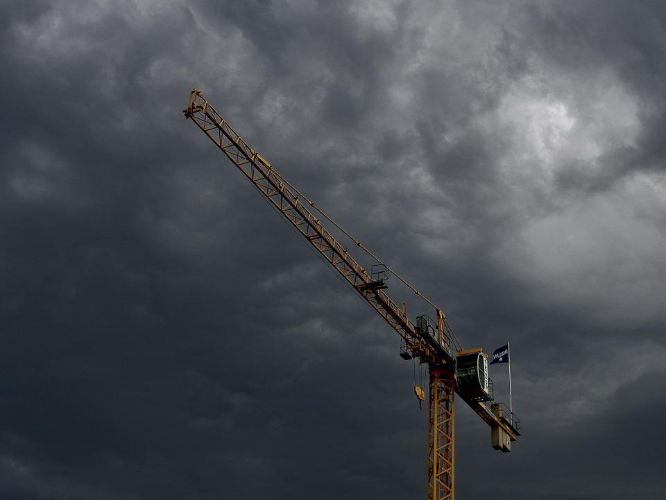 Crane, Construction, Industrial, Sky, Storm, Clouds