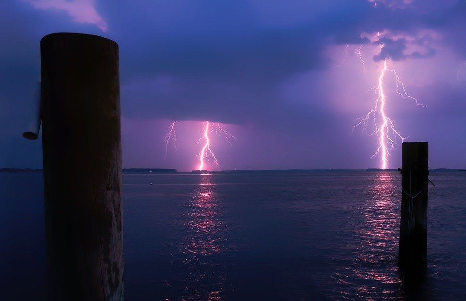 Sea, Ocean, Water, Reflections, Lightning, Storm