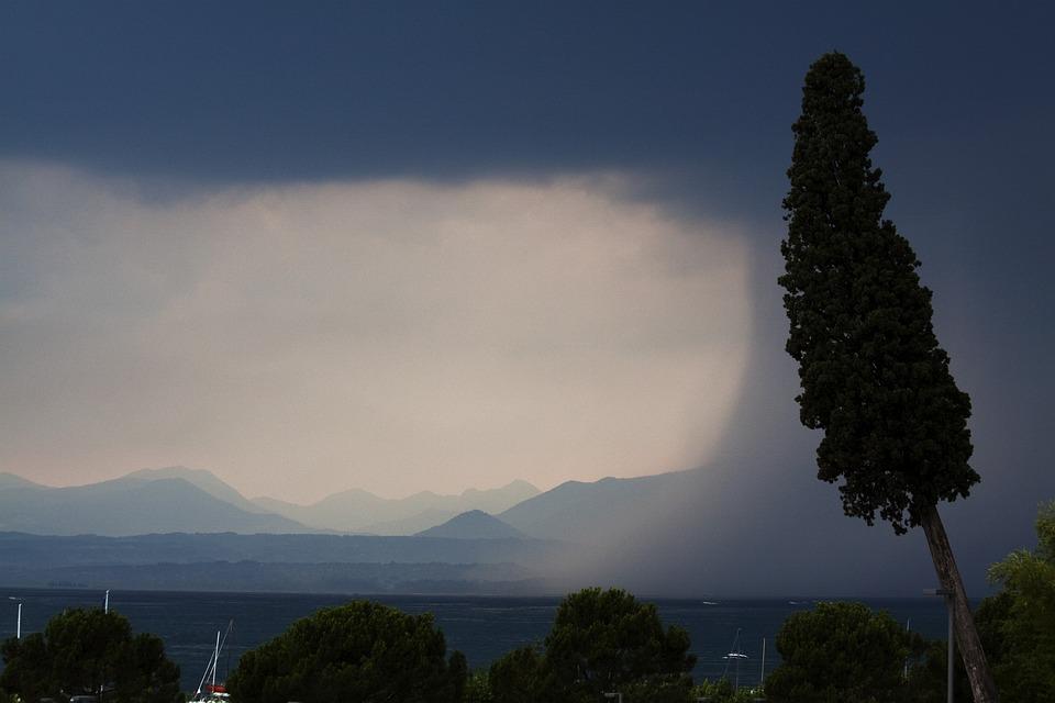 Storm, Lake, Mountains, Forward, Rain, Regenwand