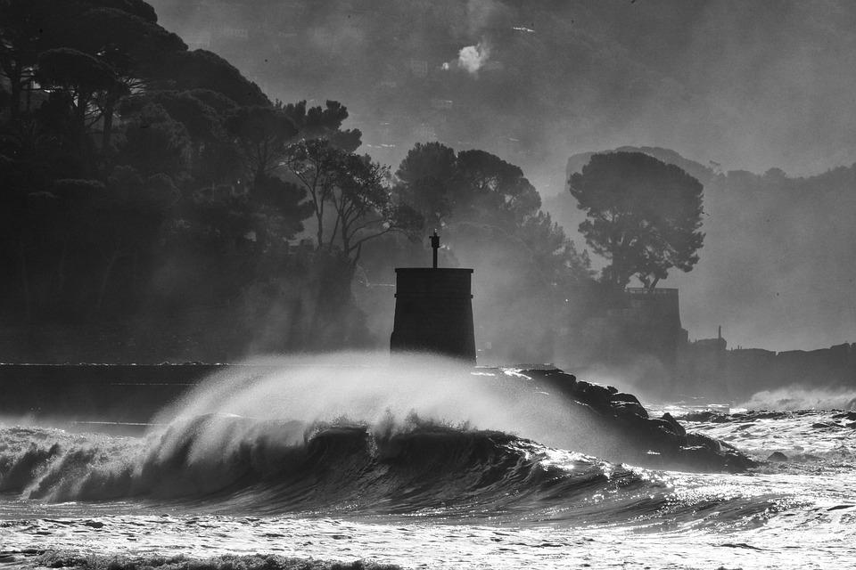 Recco, Sea Storm, Storm, Pano, Landscape, Waves, Italy