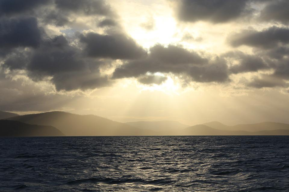 Sea, Ocean, Storm, Sun Ray, Clouds, Weather, Water, Sky