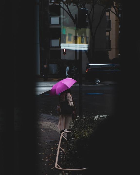 Woman, Umbrella, Street, Dark, Weather, Storm
