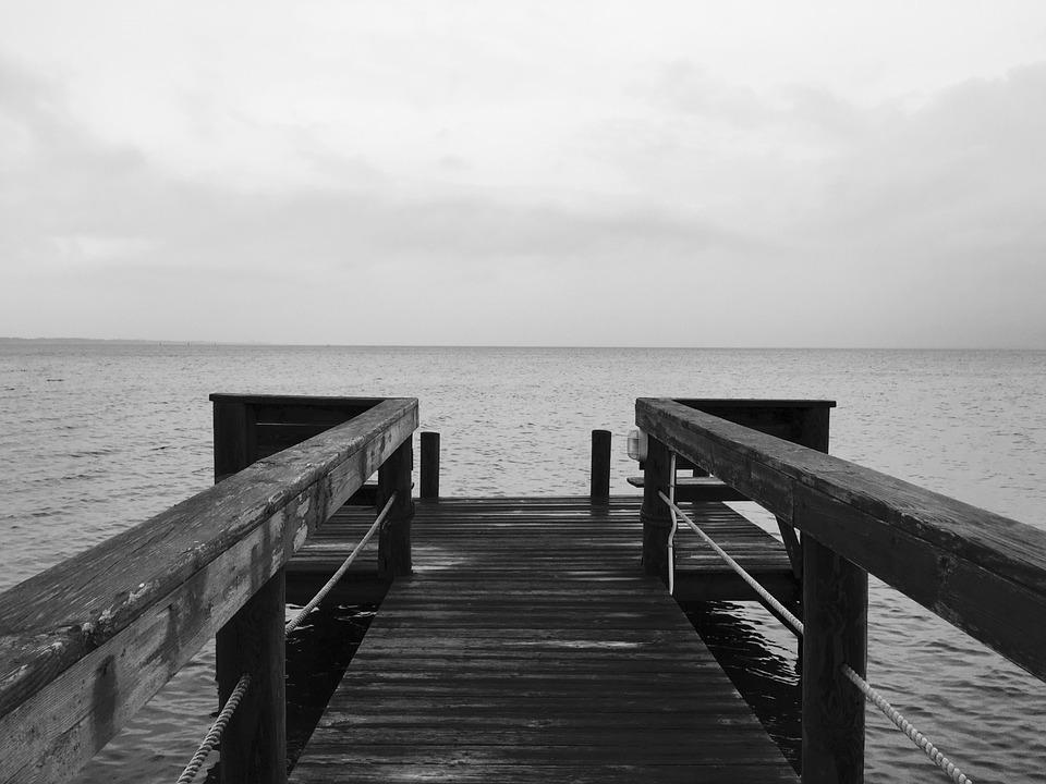 Horizon, Edge, Boardwalk, Gloomy, Dark, Stormy, Sad