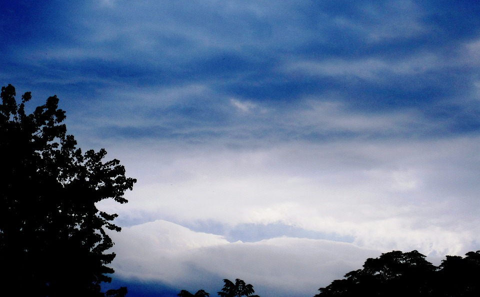 Clouds, Waves, Stormy, Moody, Blues And White, Light