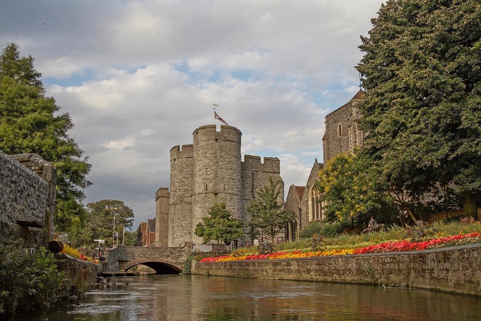 West Gate, City Gate, Canterbury, Stour, River, Flowers