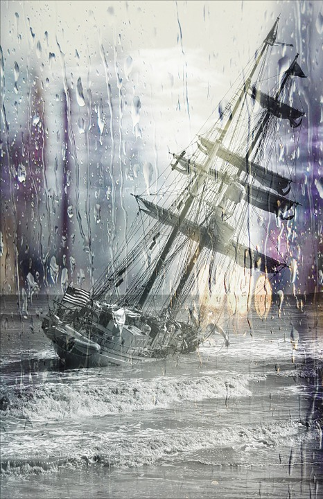 Sailing Ship, Stuck, Wrack, Stranded, Wet Lens, Rain